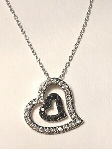 Sterling Silver And Black And White Diamond Floating Heart Necklace
