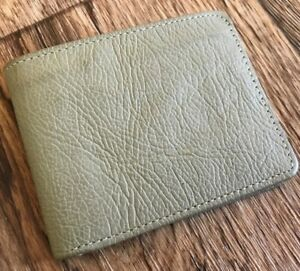 Mens Wallet Handmade Khaki Purse Leather Bifold Card Holder Coin Pocket Wallet