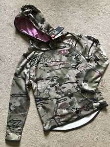 NEW Girl's Under Armour Hoodie Size Youth Large Barren Realtree Camo