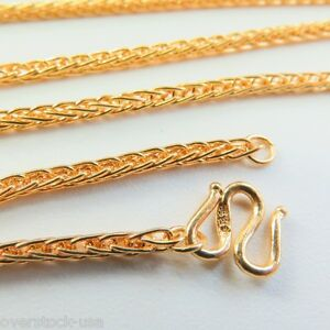 J.Lee Pure 24K Yellow Gold Necklace - Classic 2mm Wheat Link Chain 17.7