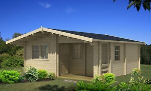 19 ft x 19 ft Log Guest Pool House hunting Cabin Kit with 32 sq ft  porch