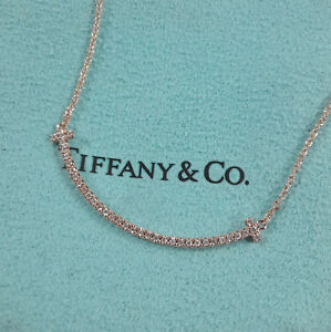 Authentic Tiffany & Co. T Smile Mini Necklace with Diamonds 18k Rose Gold