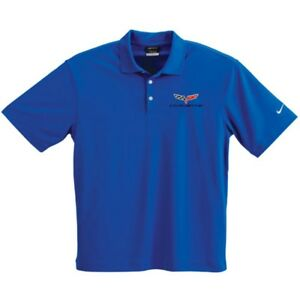 C6 Corvette Blue Nike Dry-Fit Polyester Polo Shirt