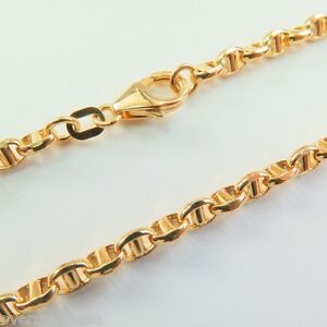 J.Lee Pure 18K Yellow Gold Necklace -Classic 3mm Anchor Link Chain Necklace 20