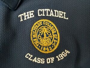 Nike Golf Fit Dry Men Navy THE CITADEL CLASS OF 1964 Logo Athletic Polo Shirt L