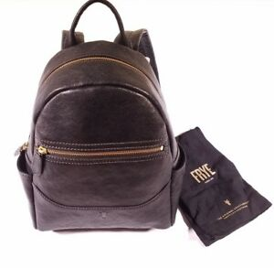 NEW $428 Frye Black Leather Front Zip Backpack Purse Women's
