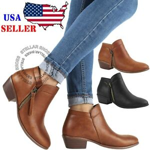 Womens Low Heel Ankle Boots Booties Round Toe Zipper Casual Shoes $25.99