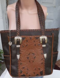 AMERICAN WEST Large Brown Leather Western Floral Tooled Tote Shoulder Purse Bag