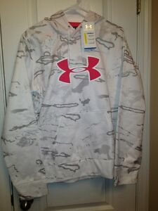 NWT Women's Under Armour Cold Gear Hoodie Snow Camo Sweatshirt White Size 2XL