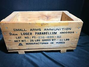 Vintage Wooden Military Ammunition Crate 9MM 1000rds Ammo Box Korea