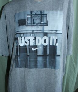The Nike Tee Just Do It Dri Fit Mens Size 2XL Tall Short Sleeve Gray T-Shirt