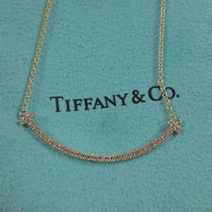 Authentic Tiffany & Co. T Smile Mini Necklace with Diamonds 18k Yellow Gold