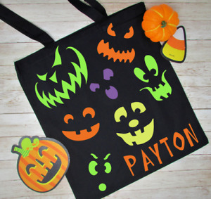 Personalized Halloween Trick or Treat Candy Canvas Black Bag Pumpkin Faces