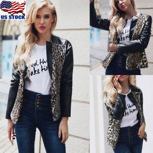 Womens Leopard Patchwork PU Leather Jacket Biker Motorcycle Coat Punk Outwear US
