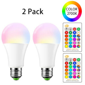 E26 LED Light Bulbs RGB Color Changing 15W A19 Warm White with Remote 2 Pack