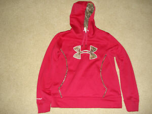 Under Armour Hoodie Women's Girls Pink Camo Sz Medium