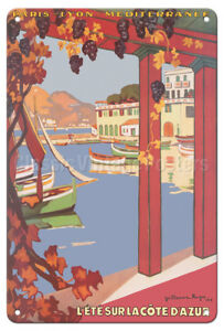 Summer on the French Riviera - Roger 1926 Vintage Travel Poster Metal Tin Sign