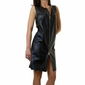 spring designer lamb black leather women dress cocktail stylish party style wear