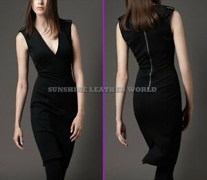 Spring Designer Lamb New Leather Women Dress Cocktail Stylish Party Wear  D-106