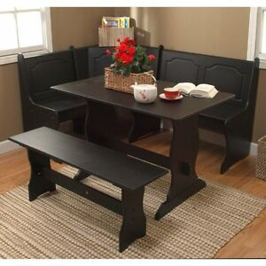 3 Piece Black Corner Breakfast Nook Dining Set Home Seating Furniture Kitchen