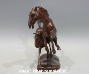 7 Red Wood Handwork Carving China Zodiac Fengshui Animal Two Horse Art sculpture