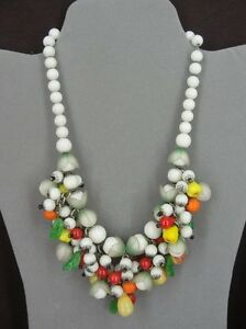 Vintage Fruit with White Glass Beads Cluster Dangle Silver Plate Necklace