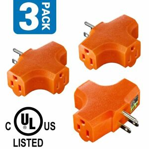 3-Outlet Grounding Adapter, ANKO [UL Listed] Heavy-Duty Grounded Power Tap