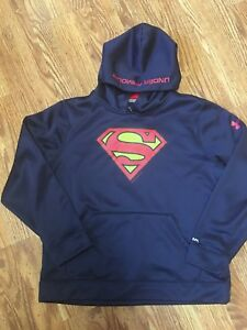 Boys Blue UNDER ARMOUR SUPERMAN Hoodie Size Youth Large LOOSE
