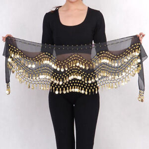 3 Rows Gold Coins Belt Belly Dance Costume Black Hip Scarf Dancing Skirt Wrap $5.99