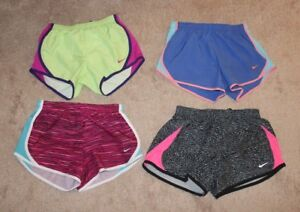 Girls Nike Dri Fit Running Athletic Shorts Lot 4 Pair Medium Pink Black Blue EUC
