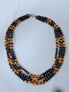 VTG 120-14K-GF - AMBER HOWLITE GOLD FILLED 5 STRANDS NECKLACE 20