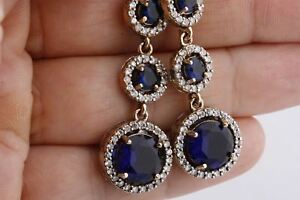 Turkish Handmade Jewelry Three Round Sapphire Topaz 925 Sterling Silver Earrings
