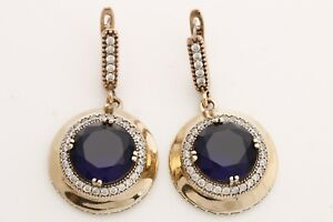 Turkish Handmade Jewelry Round Cut Sapphire Topaz 925 Sterling Silver Earrings