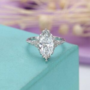 4.42Ct Certified White Marquise Diamond Engagement 14K White Gold Vintage Ring