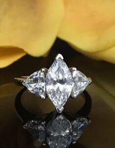 4.30Ct Certified White Marquise Diamond Engagement 14K White Gold 3 Stone Ring
