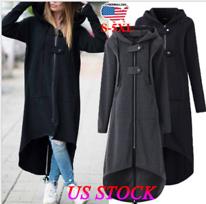 Plus Size S-5XL Womens Winter Jumper Jacket Coat Cardigan Hooded Long Outerwear