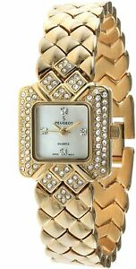 Peugeot Womens 768G Gold-Tone Crystals Accented Bracelet Watch for Women