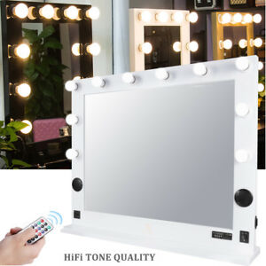 Large Beauty Vanity Lighted Makeup Mirror Desk Table Stand Bluetooth FM Speaker