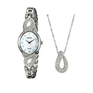 Seiko Women's Mother of Pearl Quartz Solar Watch Swarovski Bracelet Set SUP367