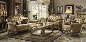 3 PC FORMAL LIVING ROOM SOFA SET LEATHER LOVESEAT CHAIR GOLD FINISH WOOD TRIM
