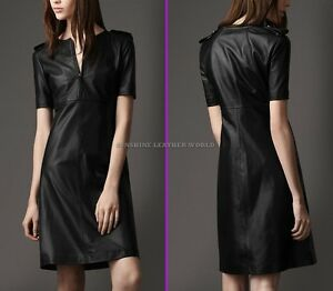 Spring Designer Lamb New Leather Women Dress Cocktail Stylish Party Wear  D-105