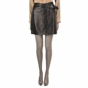 55235 auth SAINT LAURENT black leather BELTED Mini Skirt 40 M