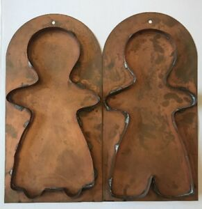 "Primitive Antique Handmade Gingerbread Man Woman Cookie Cutters 16"" Copper"