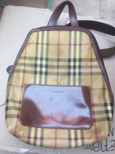 AUTH VINTAGE BURBERRY BACKPACK  BAG LEATHER CHECK PATTERN
