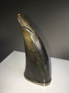 Incredible Antique Horn Powder Flask - Carved Animal Head - 1800's