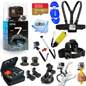 GoPro HERO7 HERO 7 Black All In 1 PRO ACCESSORY KIT W 32GB SanDisk + MUCH MORE