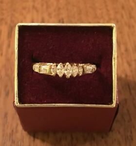 Marquise VS Diamond Engagement Ring w Round and Baguette Accents 14k One Carat