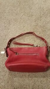 Coach  J04S 1429 Red  Soft Leather Purse Hobo Shoulder Handbag
