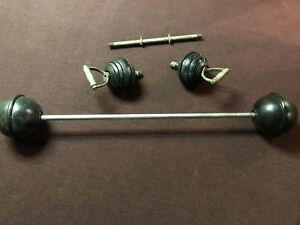 Milo Duplex Weight Set Antique Bodybuilding Weightlifting Barbell Dumbell