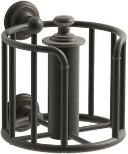 Double Post Toilet Paper Holder Pivot Rod Bathroom Storage Oil Rubbed Bronze